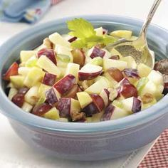 Fresh Apple Salad - so easy, I forget how Deeelicious it is. Nuts, raisins, a little mayo dressing.