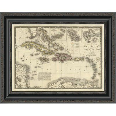 "East Urban Home 'Iles Antilles Ou Des Indes Occidentales; 1828' Framed Print Size: 11.68"" H x 16"" W x 1.5"" D"