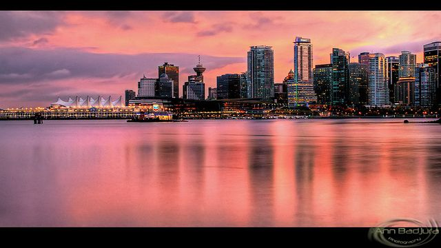 Beautiful evening in Vancouver, British Columbia, Canada.  A view of downtown Vancouver seen from the Stanley Park seawall...taken by me/©Ann Badjura