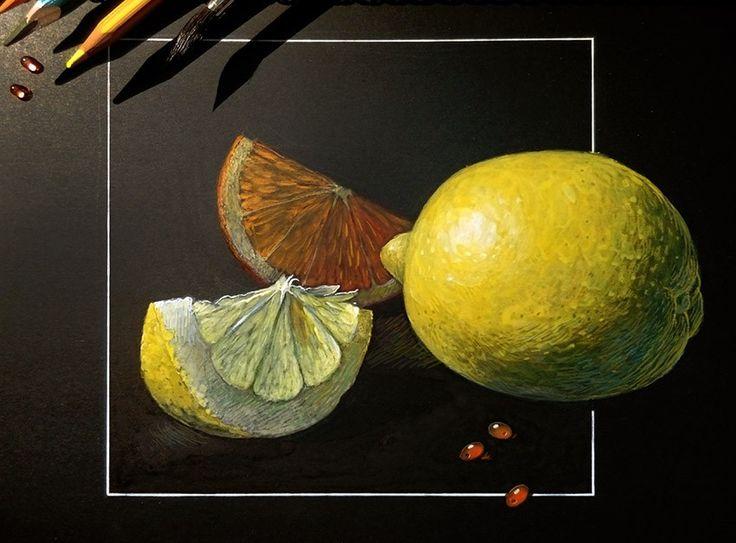 Акриловые белила, акварель, цветные карандаши