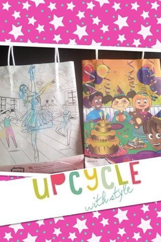 Recycled gift wrap idea. Use the bags from kids restaurant coloring kits