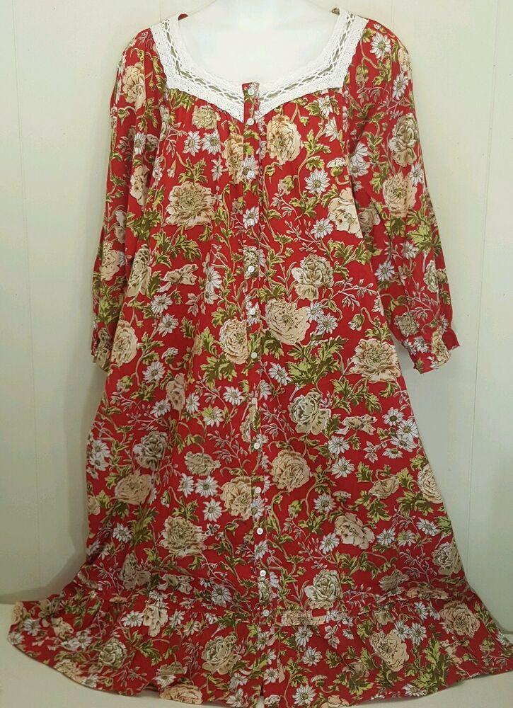 0ab962d1 La Cera 2X House Dress Red Floral Button Down Long Maxi Lounge Wear Patio  Cotton #LaCera #HouseDressPatioDressMaxiDress #AnyOccasion