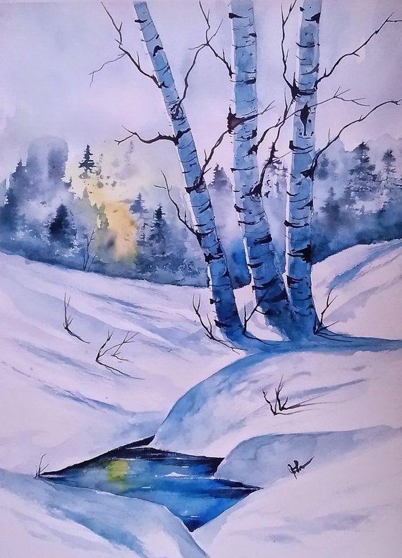 ORIGINAL painting watercolor painting original WATERCOLOR Birch Tree Art