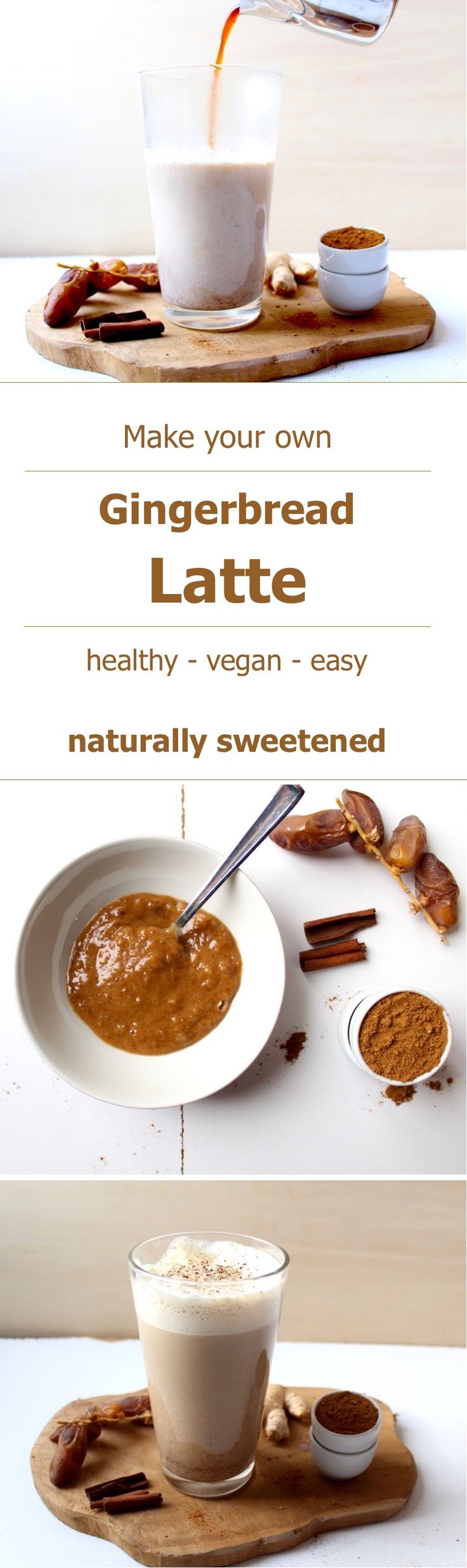 Make yourself this super delicious gingerbread latte. This recipe is healthy, naturally sweetened, easy and vegan! #vegan #gingerbread #latte #drinks