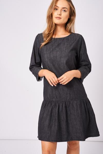 Black drop waist dress uk