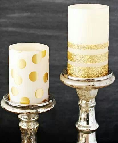 DIY gold-striped glitter candle