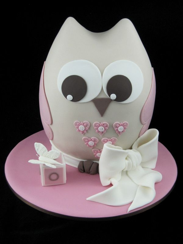 owl christening cake Inspired by Michelle Cake Designs