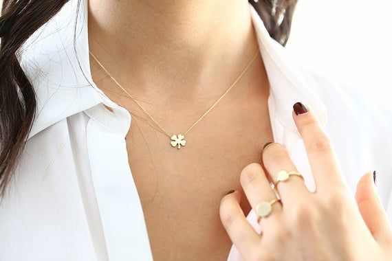 14k Gold Four Leaf Clover Charm Necklace Made To Order Clover Pendant Irish Girl Gift Minimalist Good Luck Charm Valentines Day Leaf Jewelry Thin Gold Chain Clover Necklace