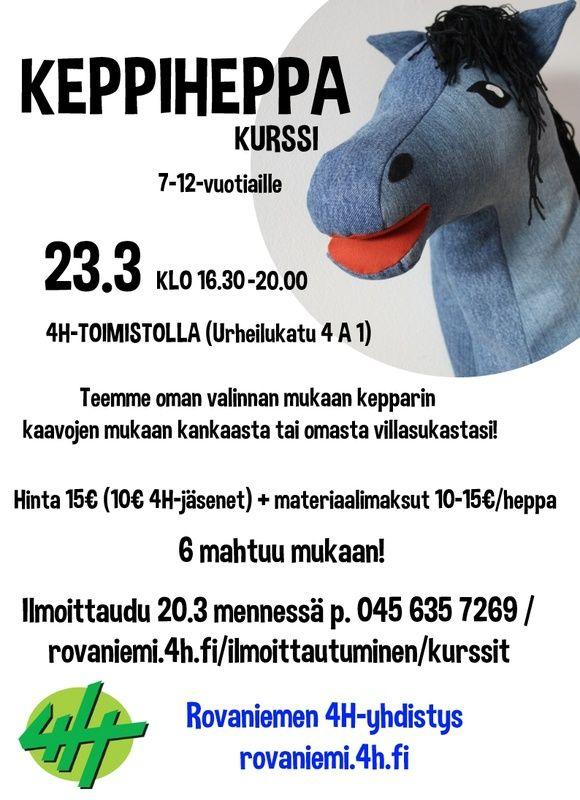 Keppiheppa-kurssille mahtuu vielä mukaan! - Rovaniemen4 H-yhdistys