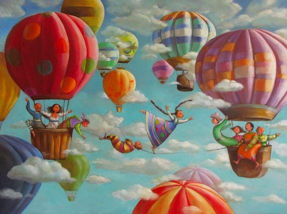 beautiful illustration - the-tightrope-dancer - by Mariana Kalacheva