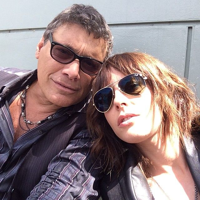Kate Moennig and Steven Bauer on the set of Ray Donovan