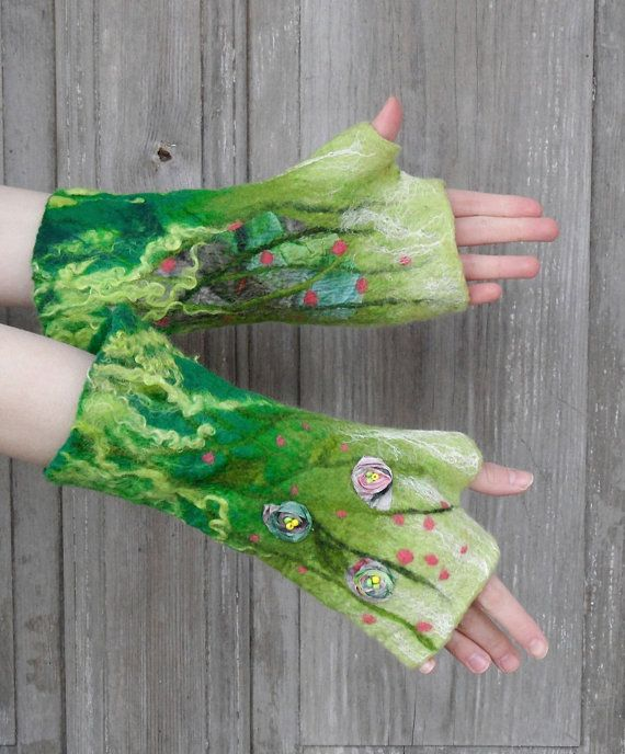 Hand felted long mittens , green fingerless gloves, decorated with silk fabric flowers, glass beads, wool curls and natural silk fibers . In felted