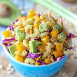 Asian pasta salad - loaded with fresh mango and avocado, and so perfect for your July 4th spread!