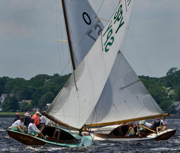 At cross purposes...... by Frank Parisi on Capture Jersey Shore // Two Class A-cats cross paths during yesterdays's regatta on Barnegat Bay.