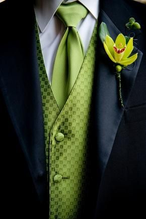 Grooms in black with green accents | grooms spring green vests ties with black tux for groomsmen