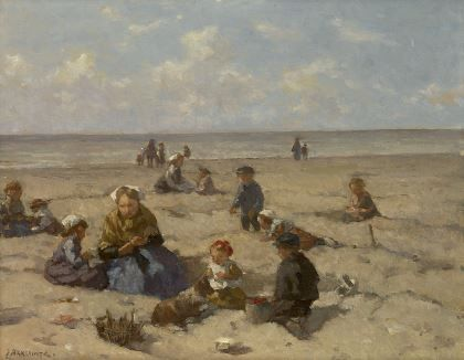 'Johannes Evert' Hendrik Akkeringa (1861-1942) Playing on the beach, oil on canvas 26,7 x 33 cm., signed l.l. and on the reverse. Collection Simonis & Buunk, The Netherlands.