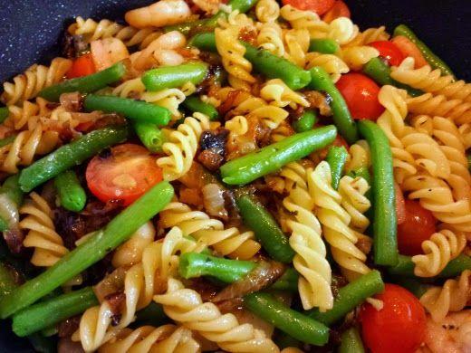 Blondie kookt: Lichte pasta met garnalen en sperziebonen