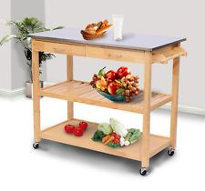 Rolling Kitchen Trolley Cart Shelves Table Drawers Stainless Steel Wood Storage