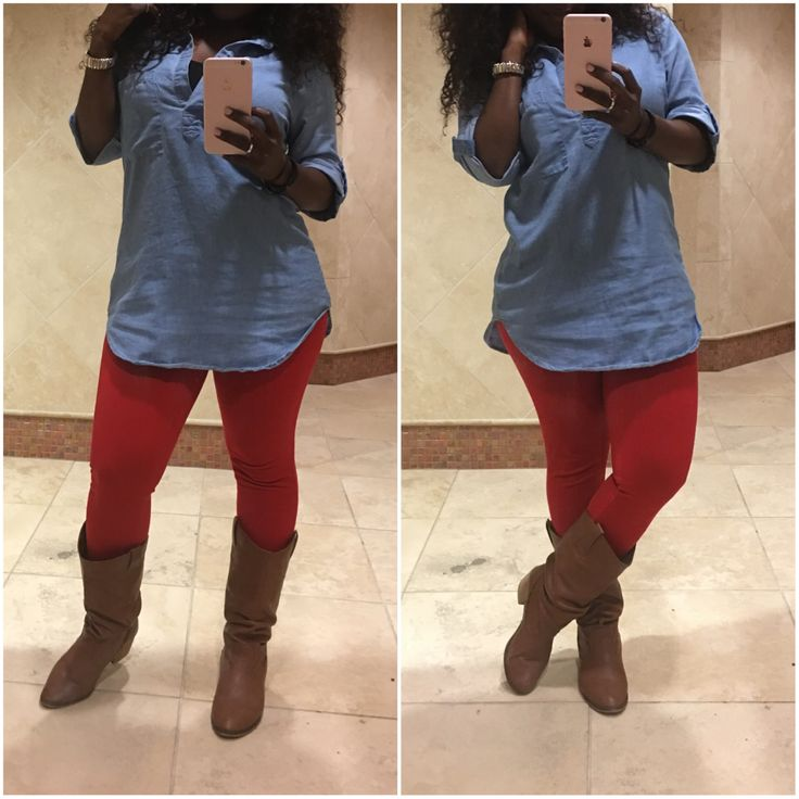 Casual fall outfit. Red pants outfit.  Jeggings - $12.88 (Walmart)  Denim shirt: < $15 (Ross)