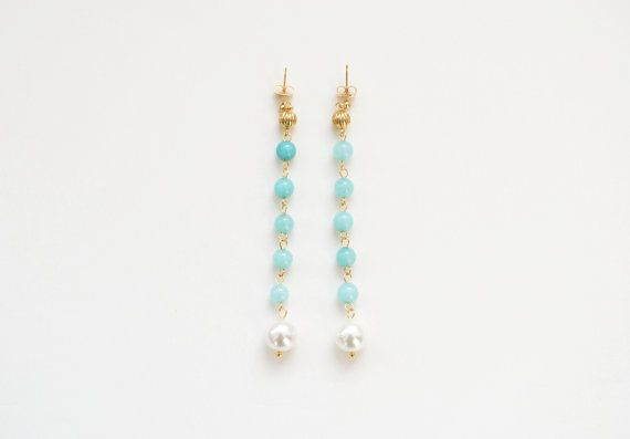 Light blue jade and white Mallorca pearls earrings by elfinadesign