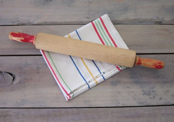 Chippy Farmhouse Rolling Pin with Red Handles by 22BayRoad on Etsy, $9.00
