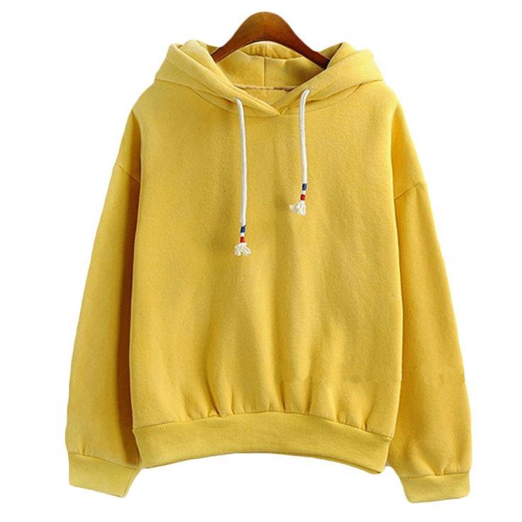 여성 후드 스웨터 새로운 뜨거운 판매 사탕 10 색 긴 소매 두꺼운 캐주얼 모든 경기 솔리드 레저 후드 까마귀 느슨한 탑