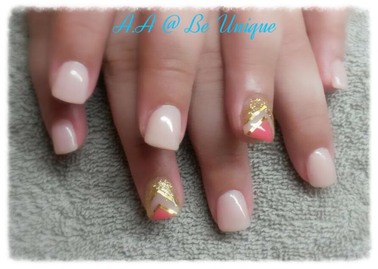 Nails done by Angelique Allegria. #nude #traingle #design #gold #coral #BeUnique @angiedsa