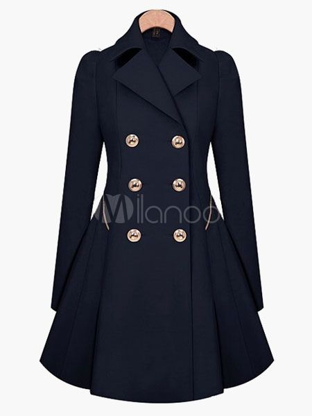Double Breasted Ruffles Trench Coat