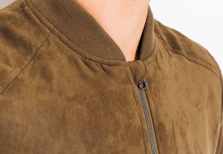 Blouson simili cuir aspect suédine Camel Homme - Jules