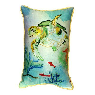 Betsy Drake Interiors  Coastal Sea Turtle Decorative Pillow #decor #home