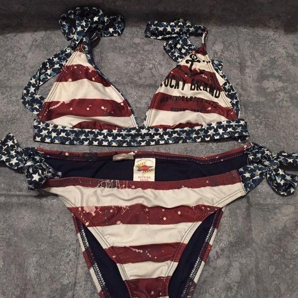 Bikini Lucky brand bikini top and bottom. Cute country style. American flag design. Both top and bottom are size small Lucky Brand Swim Bikinis