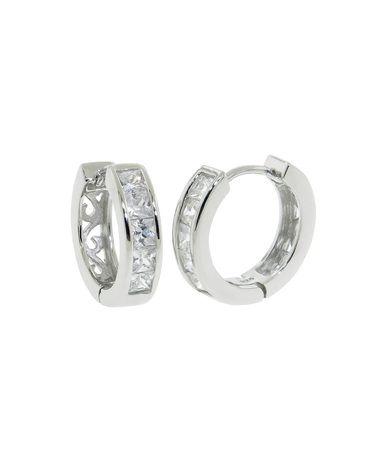 Sterling Silver Pave Princess Cut Hoop Earrings - JewelMint