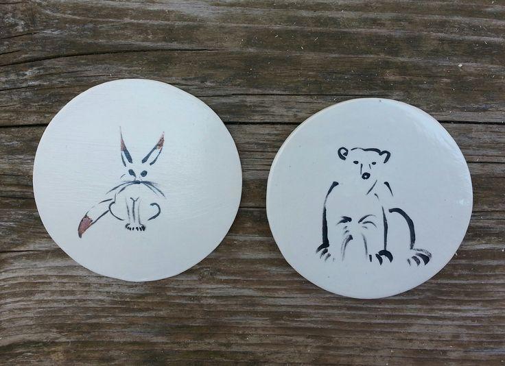 Coasters, ceramics, handpainted, unique, animals, kitchenware, home. Ceramic coaster by Aura Kajas