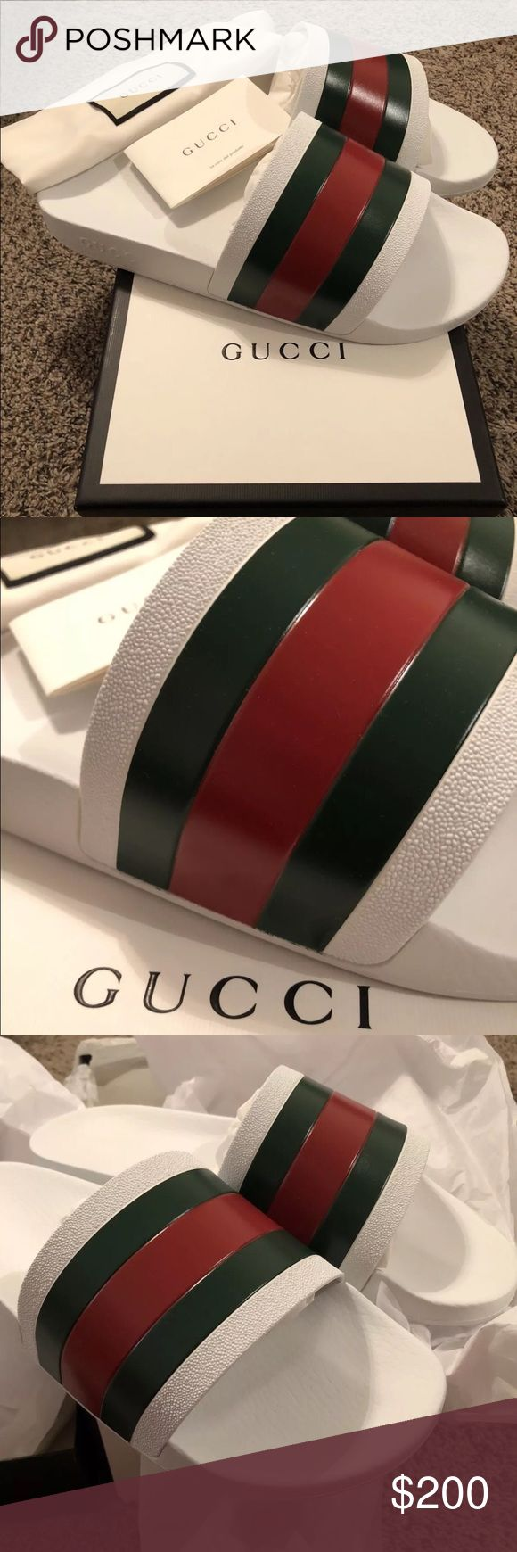 Men's White Gucci Slides Size 6-12 All of our products are 100% authentic 🛍We have a very negotiable service 🛍 We provide overnight shipping and express shipping 🛍 Our transactions are made through third party applications for faster shipping 🛍 If you are interested in buying this product please contact us via 646-431-6521 🛍 Gucci Shoes Sandals & Flip-Flops