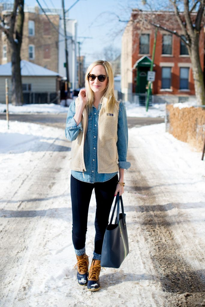 vest, chambray shirt, leggings, bean boots