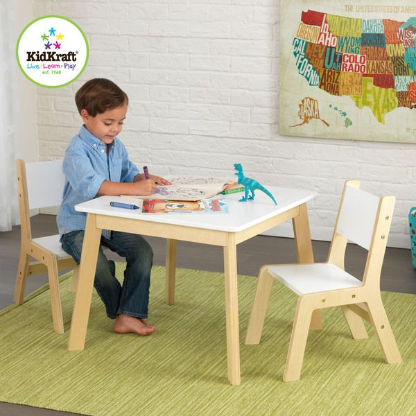 KidKraft 3-piece White and Natural Modern Table and Chair Set - Overstock Shopping - The Best Prices on KidKraft Kids' Furniture