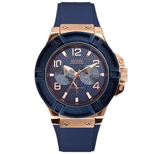 Relógio feminino Guess com pulseira de silicone azul - W0571L1