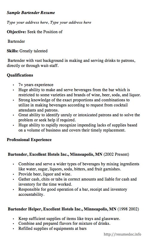 here comes another free sample bartender resume example you can preview it here or can