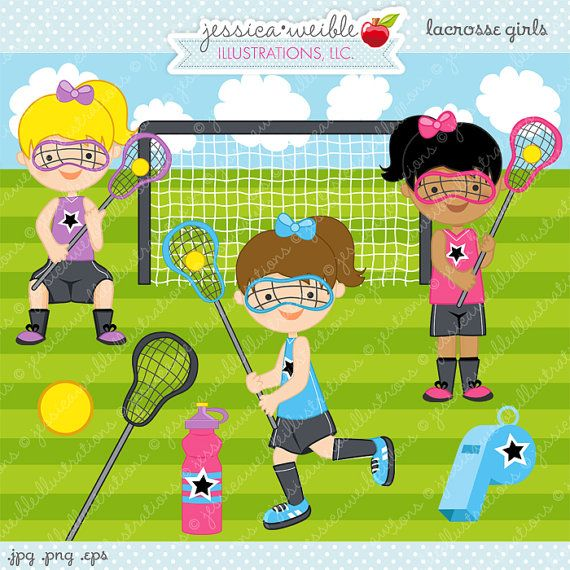 Lacrosse Girls Cute Digital Clipart for by JWIllustrations on Etsy, $5.00