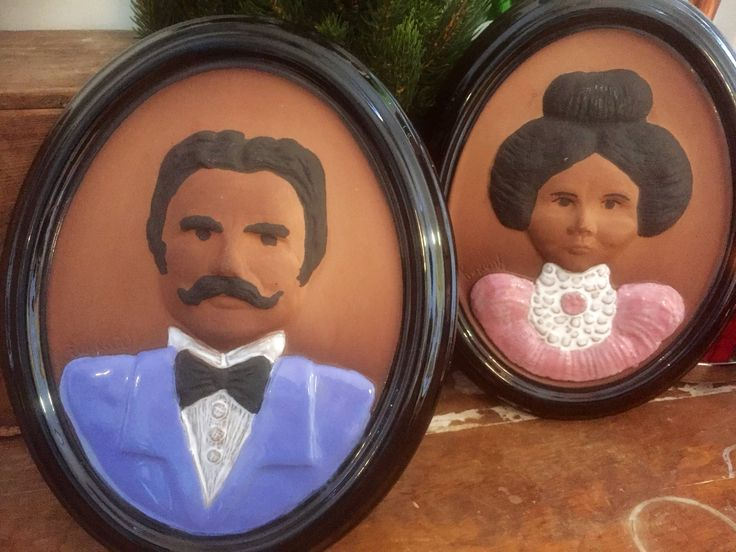 Vintage/1960s/oval ceramic tiles/plaques/ceramic wall art/Gabriel/Sweden/Scandinavian/portraits/his and her/granny/ chic/nanna/outdoor space by WifinpoofVintage on Etsy