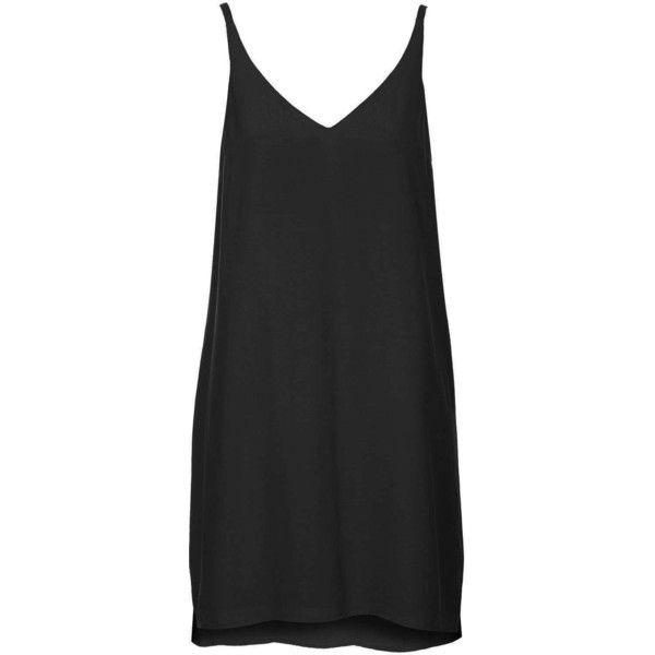 TOPSHOP TALL V Plunge Slip Dress ($52) ❤ liked on Polyvore featuring dresses, black, vestidos, topshop, slip dress, kohl dresses, tall dresses and black plunge dress