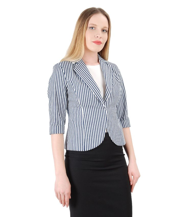 This spring, again, STRIPES! Spring17 | YOKKO #jacket #cotton #stripes #white #navy #office #fashion #style #women #beauty #yokko