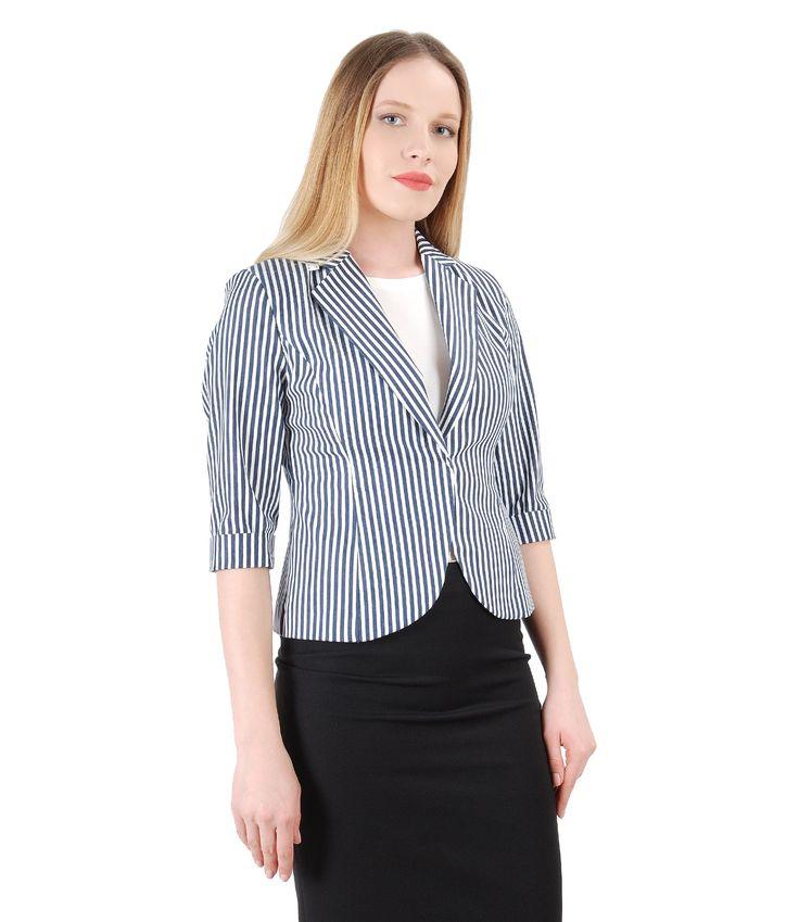 This spring, again, STRIPES! Spring17 | YOKKO #jacket #cotton #stripes #white #navy #office #fashion #style #women #beauty #yokko