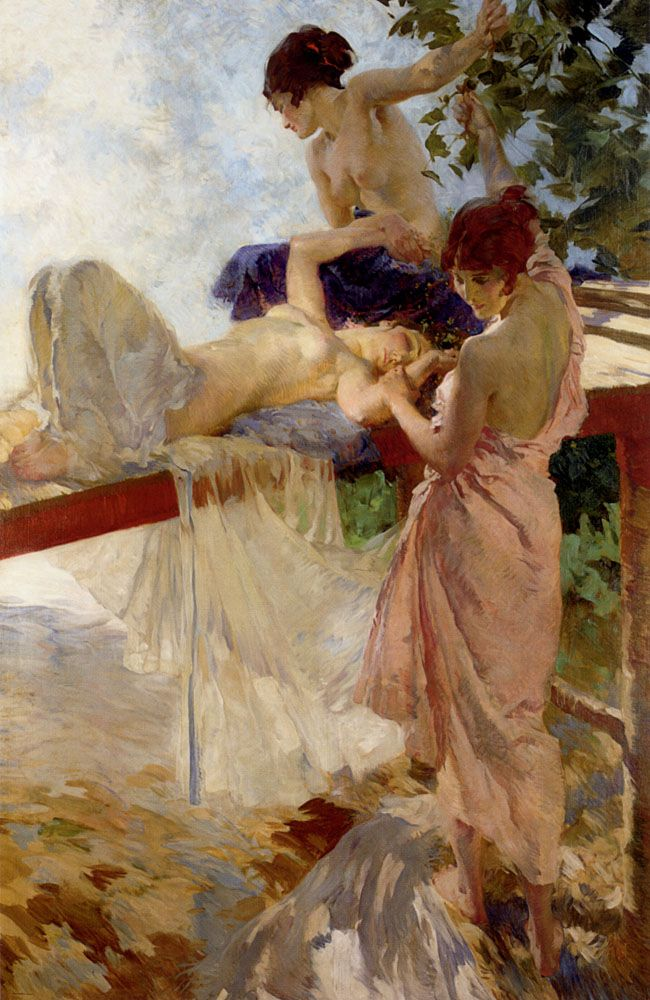 "the painted bridge, sir william russell flint . ""Sir William Russell Flint (4 April 1880 – 30 December 1969) was a Scottish artist and illustrator who was known especially for his watercolour paintings of women. He also worked in oils, tempera, and printmaking."""