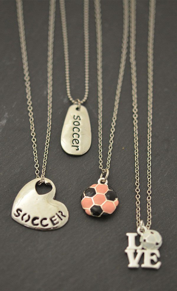 From left to right: Soccer Sport Heart Necklace, Soccer SportWORD Necklace, Silver Enameled Soccer Necklace, and Love Soccer Necklace. Make great soccer gifts for soccer girls! #correres #deporte #sport #fitness #running