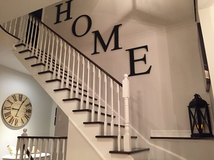 Basement Stair Landing Decorating: Modern Farmhouse Stairway