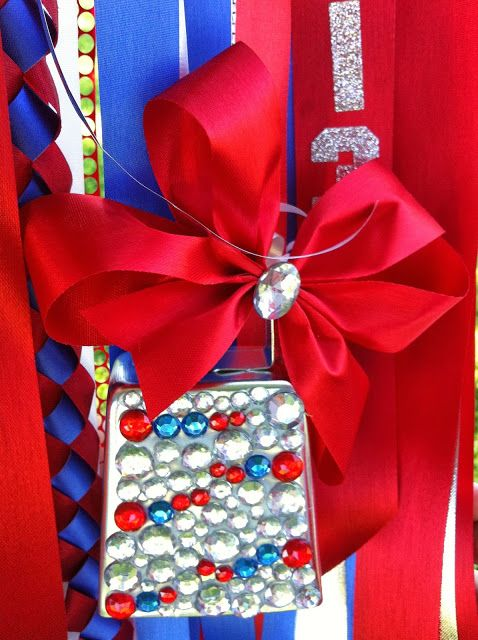 Mumsations- blinged out jumbo cowbell for Homecoming mum.