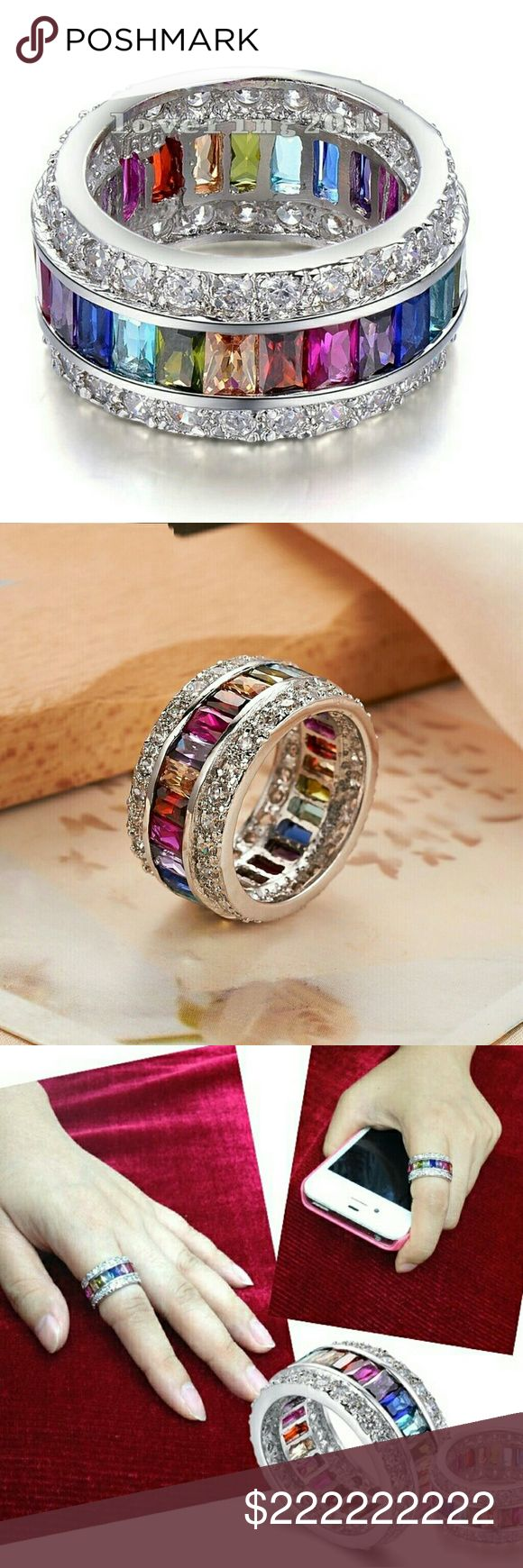 $51 Rainbow eternity wedding ring 9 MM BAND Pre order sizes 5-10 no half sizes. Will arrive 2 to 3 weeks. Just comment below on size you would like Price is firm High quality stones and very durable secure setting Channel set semi precious gemstones Alloy base bonded to sterling silver platinum plated Comes with ring box Sherri Souza Boutique & Jewelry Jewelry Rings