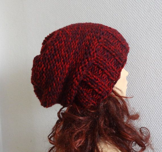 knit slouchy women hat  mens beanie hat  Slouchy Beanie  by Ifonka