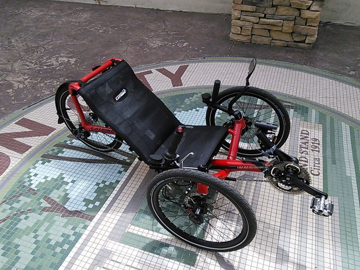 This Candy Apple red Catrike Pocket is designed for people under five foot.  Very durable and low to the ground, it is an excellent trike.
